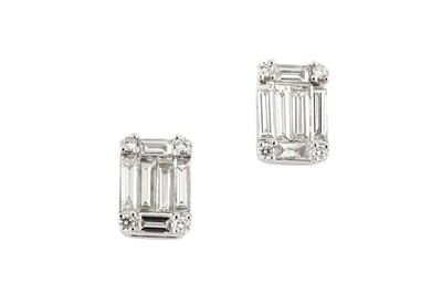 Lot 23 - A pair of diamond cluster earstuds
