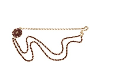 Lot 41-Chanel Leather Chain CC Logo Necklace