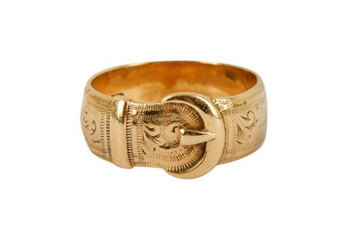 Lot 125-A 9 carat gold engraved buckle ring