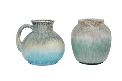 Lot 8-RUSKIN POTTERY: A Ruskin celadon and blue pottery crystalline glazed vase