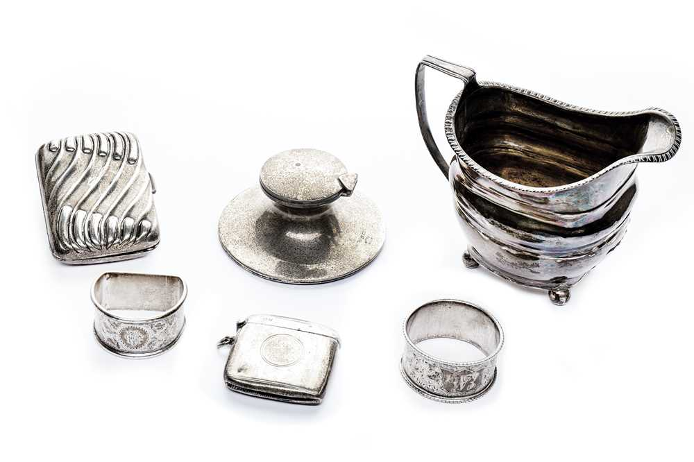 Lot 7-A collection of silver, to include an early 20th century sterling silver inkwell