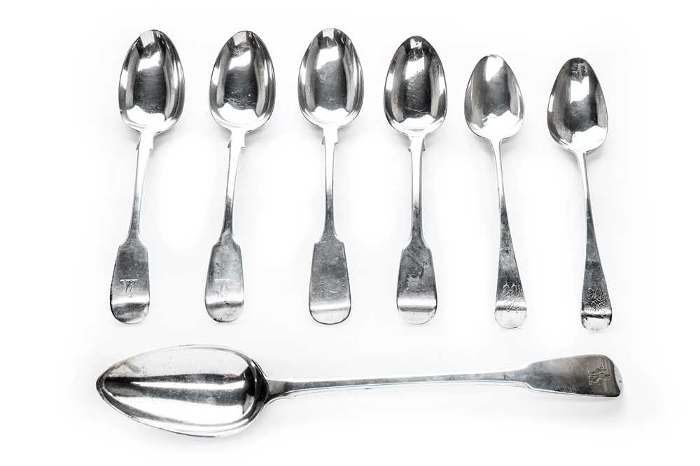Lot 10-A George III sterling silver fiddle back basting spoon