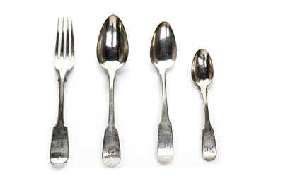 Lot 12-A Georgian sterling silver fiddleback harlequin flatware service