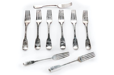 Lot 9-Six George III sterling silver fiddle pattern dinner forks