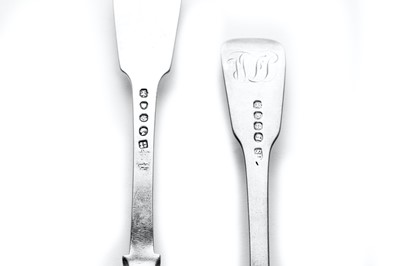 Lot 9-Six George III sterling silver fiddle pattern dinner forks