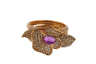 Lot 74-Valentino Flower Rhinestone Cuff Bracelet