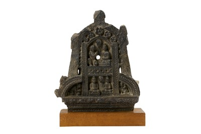 Lot 154 - A GREY SCHIST CARVED GABLE RELIEF WITH A BUDDHA IN MEDITATION