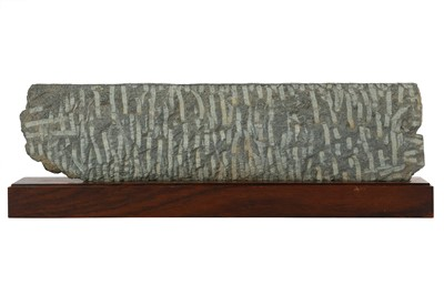 Lot 104-A GREY SCHIST CARVED FRIEZE WITH A HUNTING SCENE