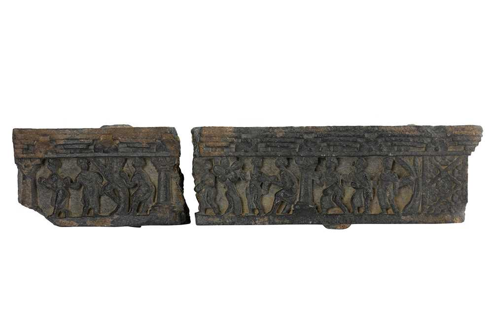 Lot 111-A GREY SCHIST CARVED FRIEZE WITH FIGURAL DECORATION