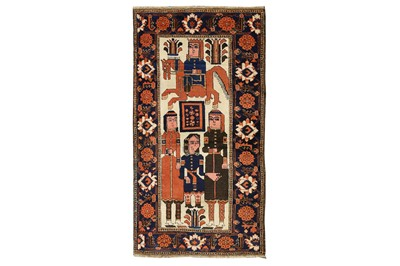 Lot 41 - AN UNUSUAL BALOUCH PICTORIAL RUG, NORTTH-EAST PERSIA