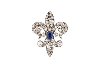 Lot 44 - A fleur-de-lys sapphire and diamond brooch, circa 1890