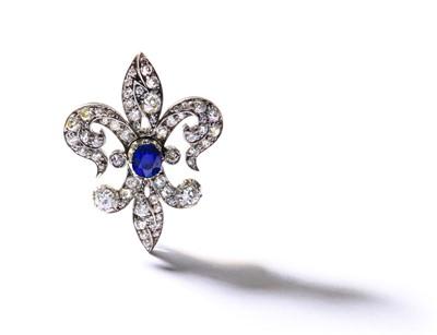 Lot 44-A fleur-de-lys sapphire and diamond brooch, circa 1890