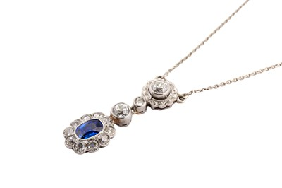 Lot 42-An early 20th century sapphire and diamond pendant necklace