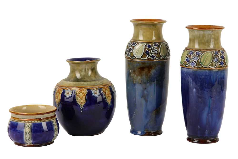 A pair of Royal Doulton stoneware baluster vases