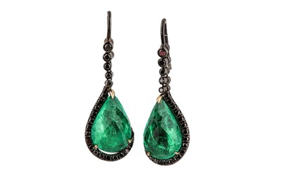 Lot 1228-A pair of emerald earrings