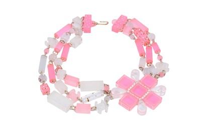 Lot 31-Chanel Pink Plexiglass Statement Necklace