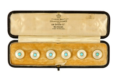 Lot 108-A cased set of turquoise and mother of pearl studs