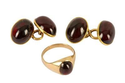 Lot 110-A pair of garnet cufflinks and garnet set gold ring