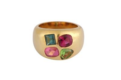 Lot 22-A multi-coloured tourmaline dress ring