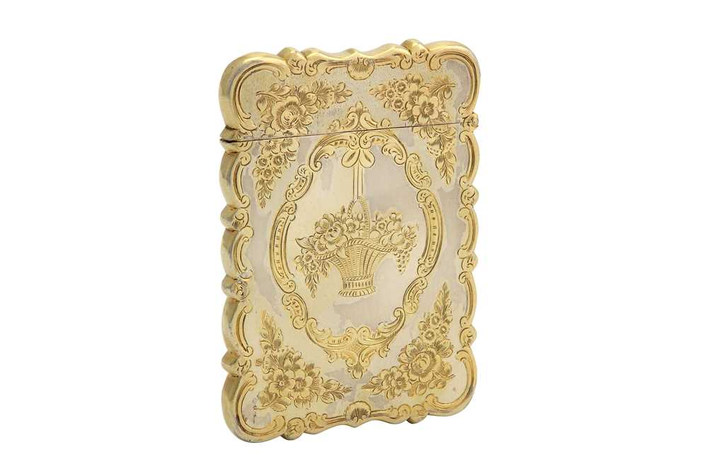 Lot 1-A Victorian sterling silver parcel- gilt card case, Birmingham 1851 by Mary Wheeler & James Bartholomew Cronin