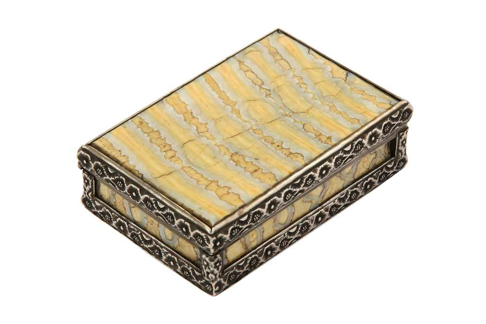 Lot 21-A mid-19th century unmarked silver, mammoth tooth ivory and tortoiseshell snuff box, English circa 1850