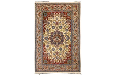 Lot 70-AN EXTREMELY FINE PART SILK ISFAHAN RUG, CENTRAL PERSIA