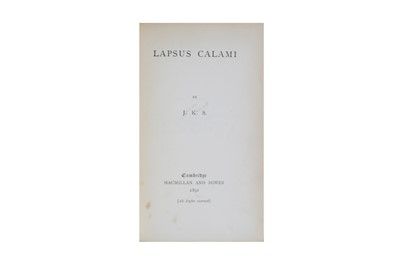 Lot 83-Kenneth Stephen (James) J. K. S., Lapsus Calami