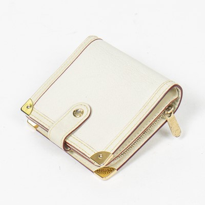 Lot 56-Louis Vuitton Ivory Suhali Compact Zip Wallet