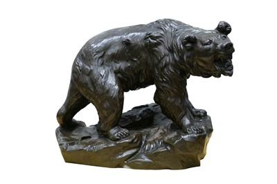 Lot 135-Large 'Wounded Bear' Bronzed Figure