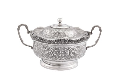 Lot 90-A mid-20th century Iranian (Persian) silver covered sugar bowl, Isfahan circa 1950 mark of Bireae