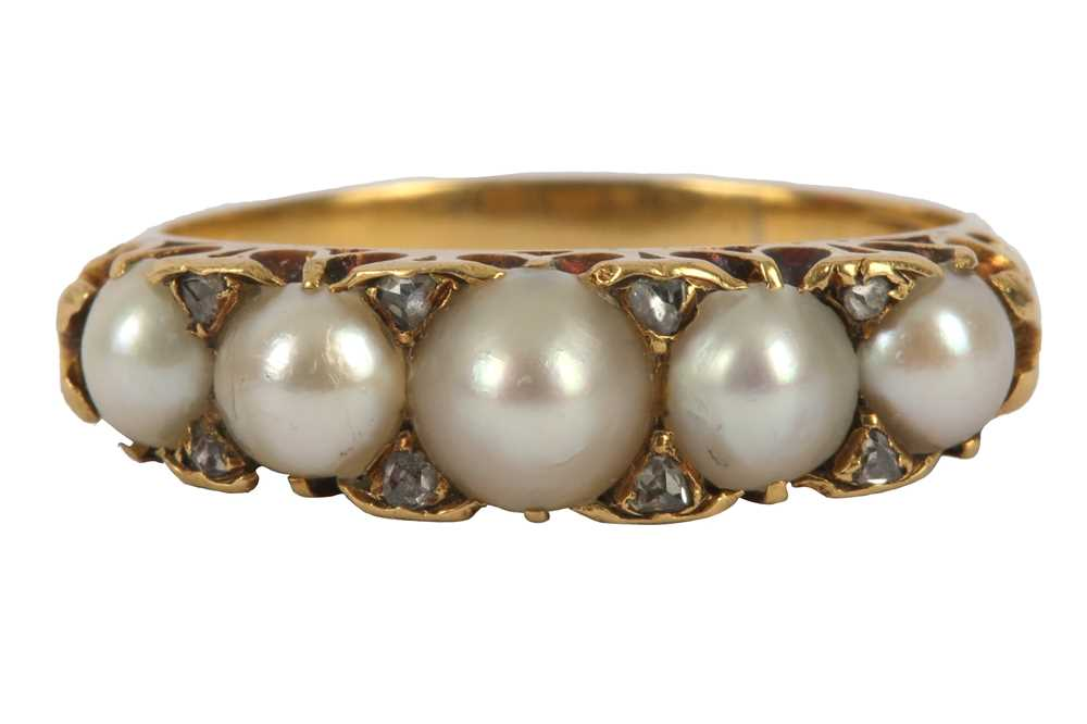 Lot 2-A pearl and diamond ring, early 20th century