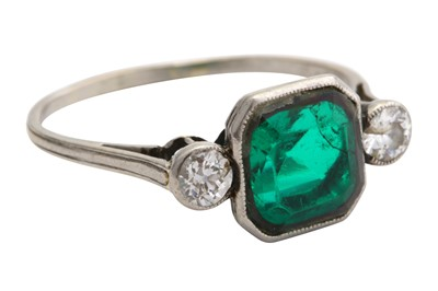 Lot 55-A green doublet and diamond ring, first half of the 20th century