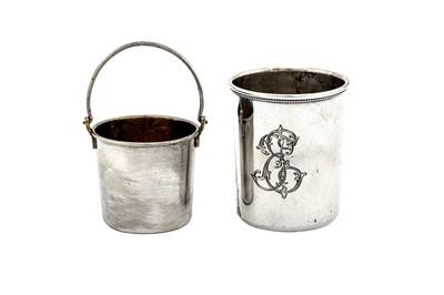 Lot 42-An Alexander III Russian 84 Zolotnik (875 standard) silver cream pail or salt, St Petersburg 1885 by Johan Ferdinand Olsonins (Finnish 1823 – 1888), retailed by Grachev Brothers (est. 1866)