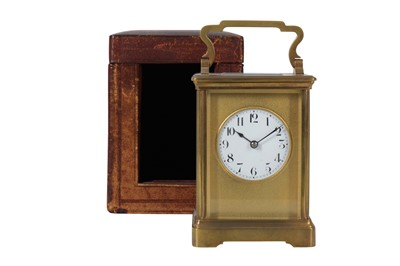 Lot 29-A LATE 19TH CENTURY FRENCH BRASS CARRIAGE CLOCK