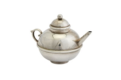 Lot 38-A Victorian sterling silver miniature or 'Toy' teapot, Birmingham 1895 by J.W (untraced)