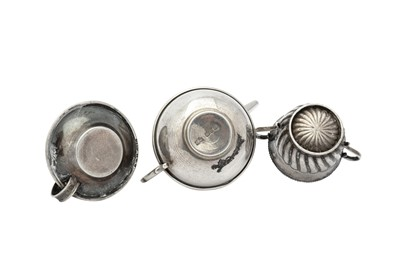 Lot 48 - Mixed Group - A Victorian sterling silver miniature or 'Toy' teapot, Birmingham 1895 by J.W (untraced)