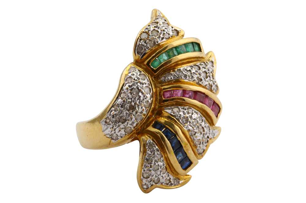 Lot 17-An emerald, ruby, sapphire and diamond dress ring