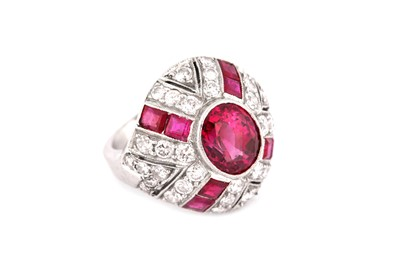 Lot 1-A ruby and diamond bombé ring, circa 1950