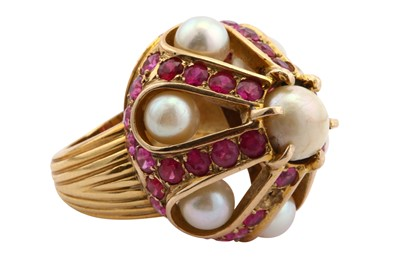 Lot 15-A synthetic ruby and cultured pearl ring
