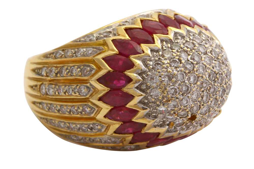 Lot 41-A synthetic ruby and diamond bombé ring