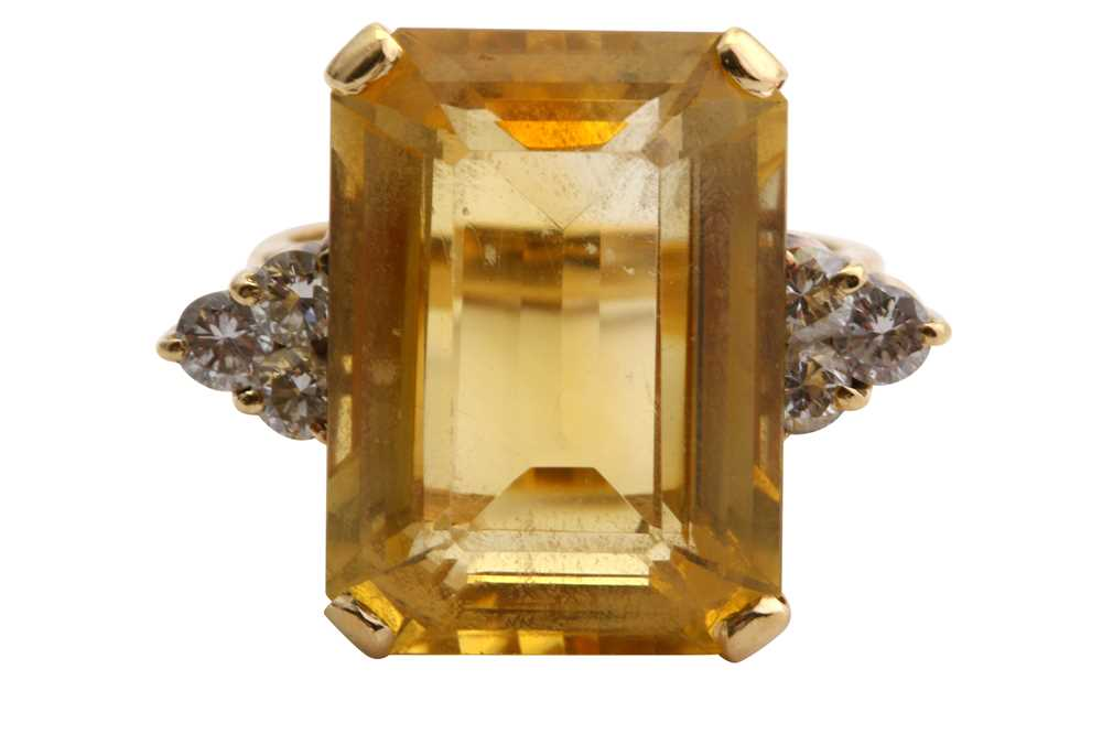 Lot 1-A citrine and diamond ring