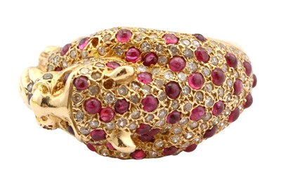 Lot 21-A ruby and diamond dress ring