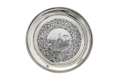 Lot 49-An Alexander II Russian 84 zolotnik (875 standard) silver and niello dish, Moscow 1863 by M. Dmitriev (active 1854-1877)
