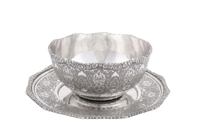 Lot 94-A late 20th century Iranian (Persian) 900 standard silver bowl on stand, Isfahan 1969-1979