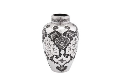 Lot 89-An early to mid-20th century Iranian (Persian) unmarked silver vase, Isfahan circa 1920-40