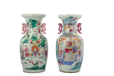 Lot 20-A PAIR OF CHINESE FAMILLE ROSE FIGURATIVE VASES.