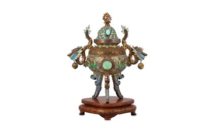 Lot 41 - A CHINESE WHITE METAL ENAMELLED INCENSE BURNER AND COVER.
