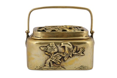 Lot 23 - A RECTANGULAR-SECTION BRONZE HAND WARMER AND COVER.