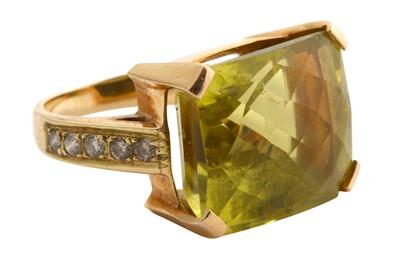 Lot 45-A quartz and diamond ring