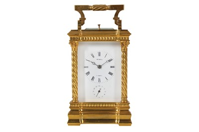 Lot 30-A FINE LATE 19TH CENTURY FRENCH GILT BRONZE CARRIAGE CLOCK WITH ALARM AND REPEAT